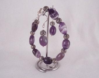 Iseult (Amethyst Bracelet W/ Decorative Metal Rounds & Earrings Set) | Gemstone Bracelet | Gemstone Earrings | OOAK