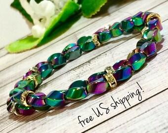 Rainbow Hematite & Swarovski Beaded Bracelet, Beaded Jewelry, Bead Bracelet Women, Beaded Bracelets Women, DreamCuff Jewelry, Free Shipping