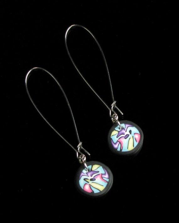 Modern Art Silver Earrings, Long Unique Colorful Earrings, Lightweight Earrings, Contemporary Earrings, Valentines Gift for Her, Girlfriend