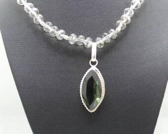 Handmade Smokey Quartz beaded necklace with Smokey Quartz pendant.