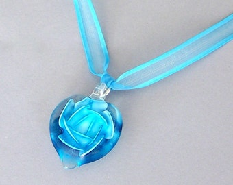 Turquoise heart necklace, turquoise blue gift for her, blue glass heart pendant necklace with ribbon