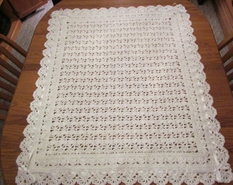 Crochet Baby Blanket White Christening Blanket Heirloom Lace Victorian Style Blanket with Ribbon Trim - Direct Checkout -  READY TO SHIP