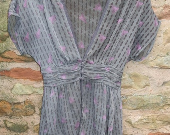 Vintage Browns and Pink Sheer Chiffon and Lace Top / Lightweight Jacket  UK Size 8/10