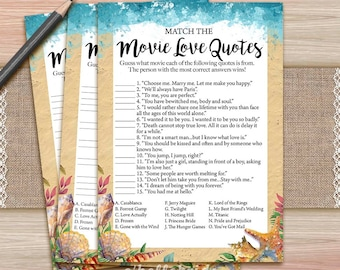 Movie Love Quote Match Game - Printable Beach Bridal Shower Movie Quote Game - Bridal Shower Game - Bachelorette  028