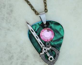 Guitar Pick Necklace - Emerald of Destiny & Sword