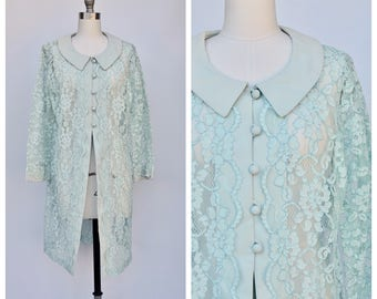 1960s floral lace mint green dress / small to large