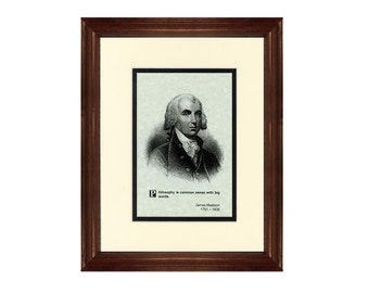 Print and Quotation of James Madison with Mat and Frame