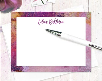 personalized stationery set - ABSTRACT ART 6 - set of 12 flat note cards - modern stationery - feminine stationary - purple note card