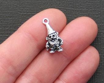 5 Gnome Charms Antique  Silver Tone 3 Dimensional Cute Cute Cute - SC2201