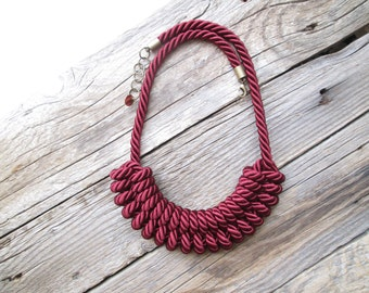 Burgundy Rope necklace Burgundy knot necklace