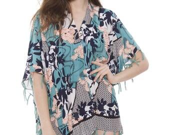 Women's Floral Kimono Cardigan Lightweight Beachwear Swimwear Cover Ups Sheer Blouse Loose Tops (6871)
