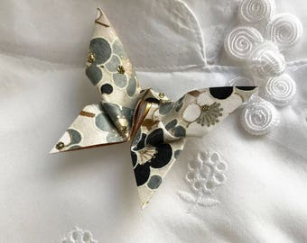 Origami Butterfly Pin (black & white)