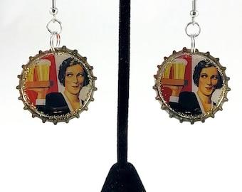 Beer Earrings,  Vintage Beer Ad, Bottle Cap Earrings, Recycled Jewelry, Beer Bottle Cap, Repurposed Jewelry