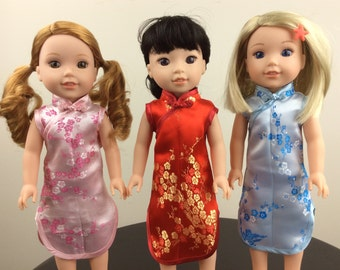 "14.5"" Inch Doll Chinese Dress Fits like Wellie Wishers Doll Clothes"