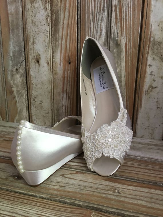 No Heel Wedding Shoes: Open Toe Lace Beaded Low Wedge Satin And Lace Bridal Shoe Peep