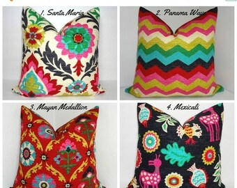 SIZZLING SUMMER SALE Waverly Desert Flower Collection Medallion Panama Wave Santa Maria Mexicali Pillow Covers Choose Size & Fabric