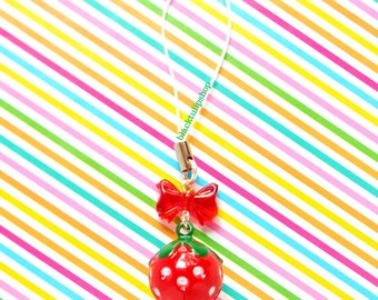 Cute Strawberry Charm For Planners Cell Phone Jingle Bell Charm Fairy Kei Sweet Lolita Charms Gift For Girls Teens Strawberry Lovers Fruit