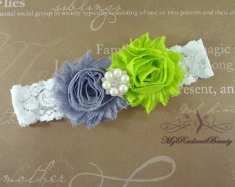 Bridal Garter, KeepSake Garter, Shabby Rosette Gray and Lime Green Garter, Garter set, Garter belt, Wedding Garter, lace garter GTF0028LG