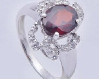 Garnet ring,925 sterling silver ring,Handmade ring,Sterling silver ring