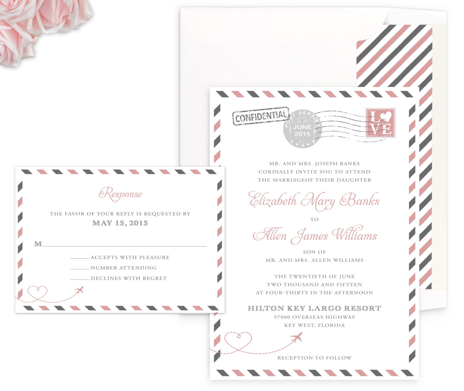 Vintage travel wedding invitation personalized travel zoom monicamarmolfo Gallery