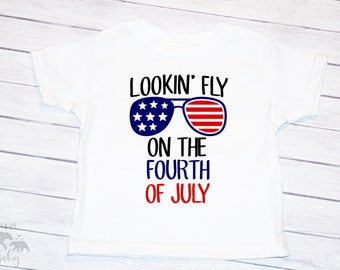 Baby Boy's Fourth Of July Onesie, Toddler Fourth Of July Shirt, 4th Of July Outfit, Sunglasses  Fourth Of July Boys Onesie, Lookin Fly