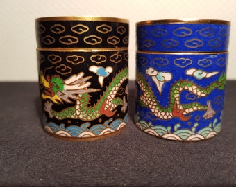 2x Chinese Cloisonne Enamel cylinder boxes. Circa 1950