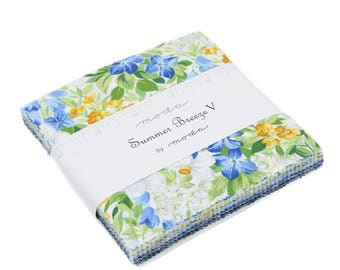 """Moda Charm pack SUMMER BREEZE V 42 5"""" squares cotton fabric blue yellow white floral 33300Pp"""