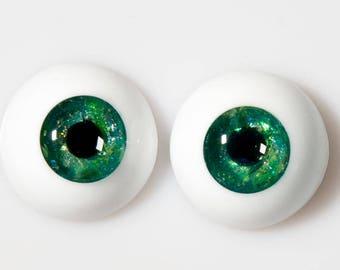 READY to SHIP! 18mm handmade urethane resin BJD green mica eyes