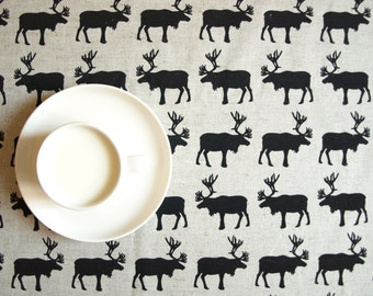 Linen tablecloth natural linen Black Deers Eco Friendly , napkins placemats runners pillows curtains available, eco GIFT