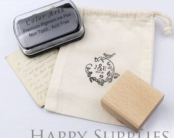 10 / 50pcs Cotton Drawing Bag with 1pcs Oil Based Ink Pad for Fabric or Paper