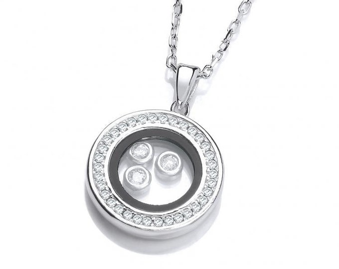 """Floating Look-of-Diamond Circle of Life Pendant Sterling Silver 16""""-18"""" Necklace"""