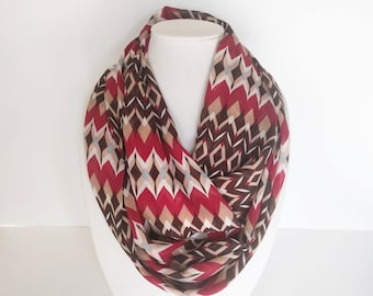 Bold Print Scarf, Red and Brown Scarf, Christmas Scarf, Gift For Mom, Lightweight Scarf, Holiday Scarf, Geometric Scarf