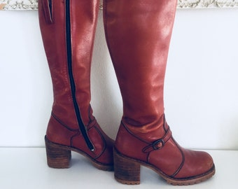70s Oxblood Leather Knee High Boots Chunky Wood Heels Lug Sole Size 7.5 1/2 M 37 37 made in Argentina by Kinney Shoes