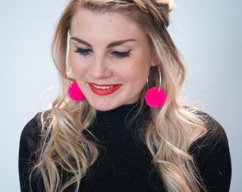 Hot Pink Pom Pom Hoop Earrings