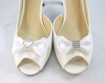 White Bow Shoe Clips, Ivory Bridal Shoe Clips, Rhinestone Shoe Clips, Satin Bow Shoe Clips, Formal Wear Shoe Decoration, Shoe Accessories