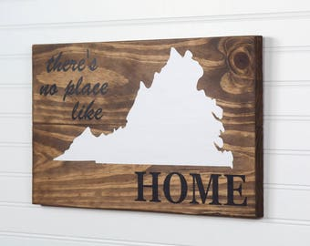 Virginia or any US state rustic wood state shape sign wall art - There's No Place Like Home. Reclaimed wood. Country Chic Rustic Cabin Decor
