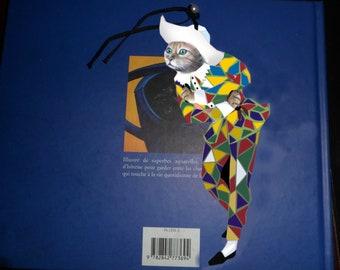 Bookmark with cat and cat: cat dressed in Harlequin