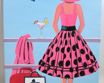 Original Art Painting Lady on a cruise ship  pink spotted Dress, Hat on canvas 16 x 12 inches