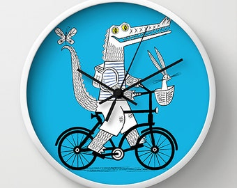 The Crococycle - Cyan blue -  illustrated crocodile wall clock - Children's Decor - by illustrator Oliver Lake