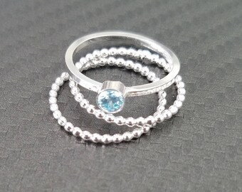 Aquamarine Ring / Aquamarine Stacking Ring / March Birthstone Ring / Silver Stacking Ring / Mothers Ring / Silver Birthstone Ring