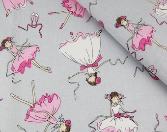 100% cotton fabric, 100 x 160 cm, textile printing, pink dancer, ballerina