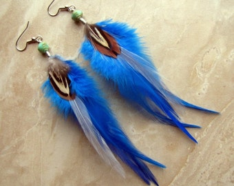Blue Feather Earrings - Turquoise Feather Earrings - Winter Wind