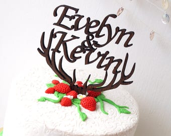 Personalized wedding cake topper, rustic cake topper, antlers topper, wooden cake topper, names cake topper, leaf vorder topper, cake topper