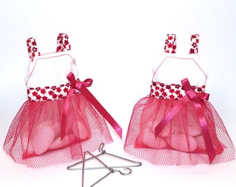 Box dragees petiterobe fuchsia tulle with organza, ten favors, guest gift, baptism, communion