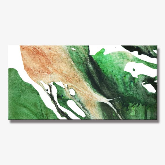 LEAVES SERIES   #4001, Contemporary Leaves Painting, Artist-Signed, Giclee Fine Art Print, Abstract Painting, Acrylic, 12x24 - 36x72