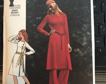 Vintage 70s Butterick 6068 Mary Quant Dress or Pantsuit Pattern-Size 12 (34-25 1/2-36)