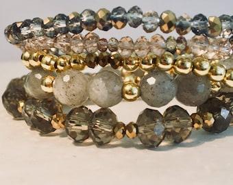 Labradorite & Crystal Stack Bracelet 5 piece set- Gemstone Bracelets- Healing-Yoga-Meditation- Chakra Balance