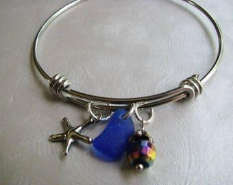 Bangle Bracelet with Starfish Charm - Stainless Steel Bracelet - Expandable Bangle Bracelet - Cobalt Blue Sea Glass Bracelet - Sapphire Blue