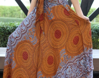 Breezy Gypsy Maxi Skirt Flare Skirt Beach Skirt Boho Chic Boho Clothing Women Blue Rose One Size Fits Brown