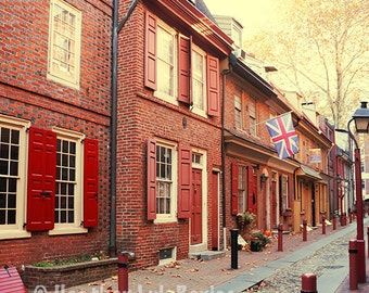 Elfreth's Alley - Wall Decor - Fine Art Photography Print - Red Brick Houses, Yellow, Philadelphia